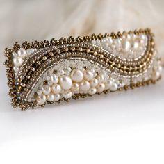 White pearl Hair piece White ivory  wedding embroidered от Eniya, €45.00