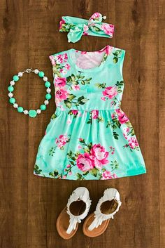Sweet Mint Floral Dress by PoseyProductions on Etsy Little Girl Outfits, Cute Outfits For Kids, Little Girl Fashion, Toddler Outfits, Kids Fashion, Cute Baby Clothes, Doll Clothes, Cute Baby Girl, Swagg
