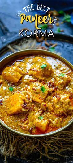 Tasty Vegetarian Recipes, Veg Recipes, Curry Recipes, Asian Recipes, Cooking Recipes, Dishes Recipes, Paneer Korma Recipe, Sabzi Recipe, Paneer Recipes
