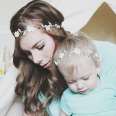 Mama and Mini Silver Leaf Headband Set  Silver and by WillowCrowns, $20.00