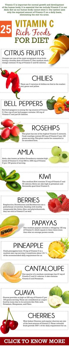 Vitamin C is one of the most important nutrients that the body needs. Here is a list of the top 25 vitamin C rich foods that will ensure that your ... #Health #vitaminA #animals #tagforlikes