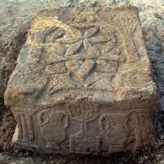 The archeological discovery from 2009 was found at the site of the Migdal area in the Sea of Galilee where this stone with a seven branch Menorah belongs to the Second Temple Area, around the year 100 BCE. Archaeological Discoveries, Archaeological Finds, Cultura Judaica, Marie Madeleine, Sea Of Galilee, Holy Land, Ancient Artifacts, Ancient Civilizations, Ancient History