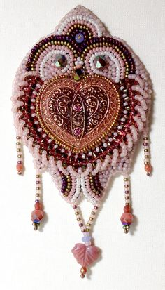 Bead Embroidery Kit: Be Still My Heart in pink and gold