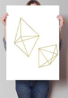 Fancy - Gold Geometric Prism Print