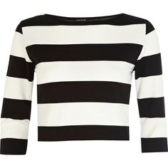 River Island Black and white stripe crop top (14 AUD) ❤ liked on Polyvore featuring tops, crop, sale, black and white crop top, boat neck striped top, boatneck top, crop top and boat neck tops