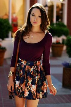 Burgundy top & floral skirt. I think I could wear this at the office in summer....