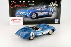 Hersteller: AUTOart Maßstab: 1:18 Fahrzeug: Chevrolet Corvette Mako Shark Baujahr: 1961 Artikelnummer: 71131 Farbe: blau metallic / silber EAN 674110711318 Das Modell wurde in der gewohnt hochwertigen AUTOart-Qualität produziert und spiegelt das Original bestmöglich wieder.  Modellbesonderheiten:  originalgetreue Innenraumausstattung detaillierter Motorraum lenkbare Vorderräder zu öffnende Heckklappe und Türen