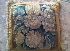 French Aubusson Tapestry Pillow With Velvet Backing, (18th-C.)