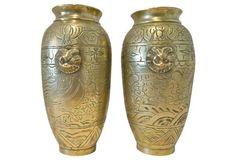 Heavy Cast Brass Dragon & Foo Dog Vases