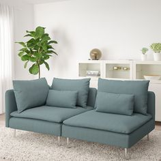 IKEA - SÖDERHAMN, Sofa section, Finnsta turquoise, SÖDERHAMN seating series allows you to sit deeply, low and softly with the loose back cushions for extra support. Söderhamn Sofa, Ikea Sofas, Ikea Couch, Living Room Turquoise, Turquoise Sofa, Ikea Family, Bed Slats, Hook And Loop Fastener, Comfortable Sofa