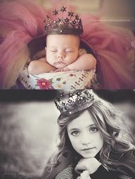 Photograph the new baby with an object her/she can be photographed with later on when they are older <3 Love this idea!!!! <3
