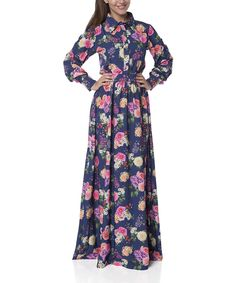 49d64b464864 FX Missony Blue   Pink Floral Button-Front Maxi Dress