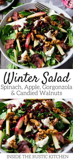A winter salad recipe made with Gorgonzola, apple, bacon, spinach and candied walnuts. It's so simple and utterly delicious, perfect for lunch or dinner. spinachsalad saladrecipes winterrecipes wintersalads gorgonzola cheese via 54184001752898374 Winter Salad Recipes, Salad Recipes For Dinner, Recipe For Winter Salad, Salads For Lunch, Apple Recipes Dinner, Christmas Salad Recipes, Lunch Foods, Lunch Recipes, Summer Recipes