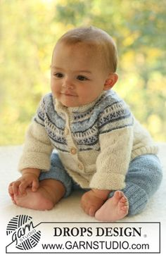 Himmelblå / DROPS Baby - Set of knitted cardigan with round yoke and Nordic pattern plus pants, for baby and children in DROPS Alpaca Baby Knitting Patterns, Baby Sweater Patterns, Baby Boy Knitting, Knit Baby Sweaters, Knitted Baby Clothes, Knitting For Kids, Baby Patterns, Free Knitting, Knitting Projects