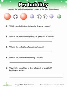 Fourth Grade Probability Fractions Worksheets: Probability Practice 2nd Grade Reading Passages, 2nd Grade Reading Worksheets, Kindergarten Math Worksheets, 3rd Grade Math, Fourth Grade, Probability Worksheets, Printable Math Worksheets, Gcse Math, Maths