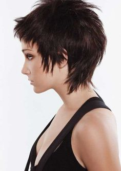 Dark Pixie Haircut with Layers