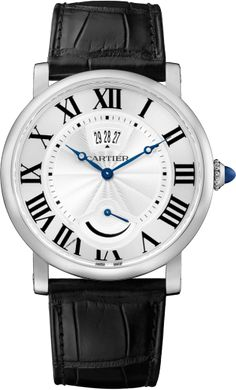 Rotonde de Cartier Watch, Calendar aperture and power reserve 40 mm, steel, leather $8,350