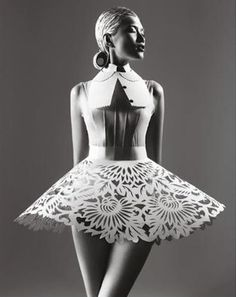 Best in Sculptural Fashion: Masha Ma for Bazaar China May 2012. Laser cut paper has never looked more glamorous.