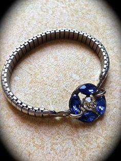 Vintage Sapphire Blue Rhinestone Watchband by JNPVintageJewelry
