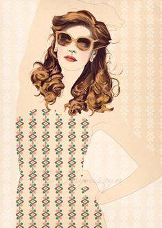 Bathing Beauty Digital Fashion Illustration Art by HillaHryniszyn, €12.50