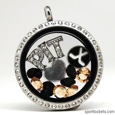 Pittsburgh Penguins hockey-themed locket necklace from SportLockets.com. Customize with your own letters, stones, and charms!