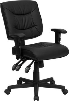 Flash Furniture GO1574BKAGG MidBack Black Leather MultiFunctional Task Chair with Height Adjustable Arms * Read more reviews of the product by visiting the link on the image.Note:It is affiliate link to Amazon. #likemeback