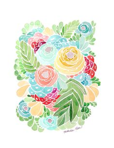 Watercolor Flower  Print Painting  Tropical Colors  by ladypoppins, $25.00