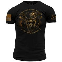 SOME SIZES MAY BE BACKORDERED ALL SIZES ESTIMATED TO BE BACK IN STOCK BY 4/3 Better is it to die in battle with honor, than to live in shame. Discipline breeds honor. Grunt Style's Without Discipline shirt is an ultra-comfortable and soft men's 100% cotton black t-shirt.