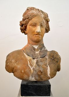 Bust of armed Aphrodite | From the 'Heroon' at Calydon.  Archaeological Museum of Agrinion (Ministry of Culture site) Agrinio, Aitoloakarnania, Greece