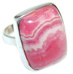 $69.95 Great+quality+Pink+Rhodochrosite++Sterling+Silver+Ring+s.+10 at www.SilverRushStyle.com #ring #handmade #jewelry #silver #rhodochrosite