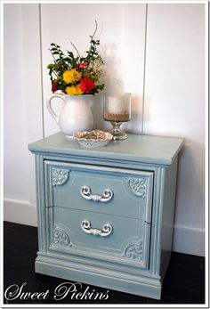 This refinish color may be perfect for a little girls bedroom.