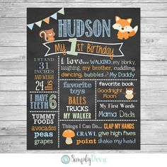Woodland II First Birthday Chalkboard Poster of by SimplyDovie