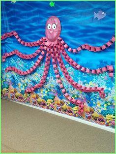 Unter dem Meer - Riesenkrake - Under the Sea Crafts - Unter dem Meer – Riesenkrake - Kids Crafts, Summer Crafts, Preschool Activities, Arts And Crafts, Paper Crafts, Therapy Activities, Octopus Crafts, Ocean Crafts, Octopus Octopus
