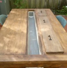Rustic Outdoor Table with Cooling Tray | The Design Confidential