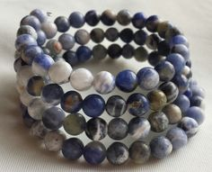 Sodalite Memory Wire Bracelet by CinsWhims on Etsy, $25.00