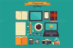 Designer's desk flat illustration by Marish on Creative Market