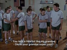 Freaks and Geeks. You look a little bit like my grandpa, Oh, is your grandpa super cool? Freaks and Geeks You look a little bit like my grandpa Oh is your super cool? John Cheever, Freaks And Geeks, Movie Lines, Film Quotes, The Victim, Great Movies, Mood Quotes, I Laughed, Movie Tv