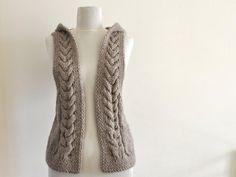 Sweater Vest Hooded Vest Sweater Hand Knit Pale by reflectionsbyds Crochet Jacket, Knit Vest, Love Crochet, Crochet Yarn, Minimalist Outfit, Hooded Vest, Crop Top Sweater, Wool Yarn, Pulls