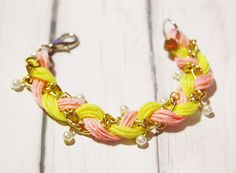 Gold Chain and pastel cotton rope braided bracelet  by Lynnlen, $6.00