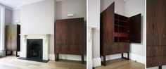 Rosewood alcove cabinets