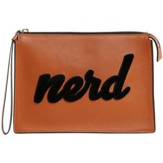 Les Petits Joueurs Women Nerd Leather Pouch (5.051.360 IDR) ❤ liked on Polyvore featuring bags, handbags, clutches, brown purse, real leather purses, leather clutches, 100 leather handbags and leather handbags