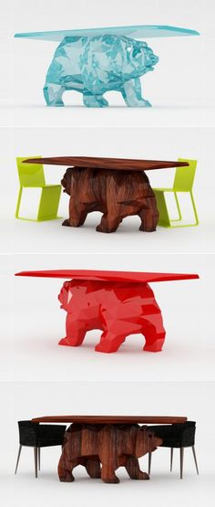 Red or brown bear table for canapes and/or beverages