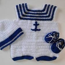 Resultado de imagen para tutorial de como hacer un traje de marinero para bebe a crochet