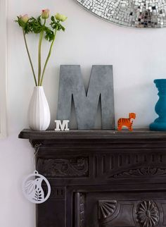 letters. over mantel.