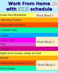 Focusing on creative learning activities for kids! Working From Home Meme, Work From Home Tips, Kids Schedule, School Schedule, Independent Reading, School Closures, Homeschool Kindergarten, Busy At Work, Kids Learning Activities