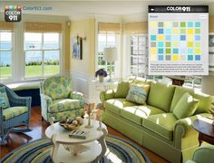Using the sweet colors of the green grass, blue waters and open sky, the Breeze color theme from the Color911 app ties it all together! #Color911 #Color #Home #Coastal