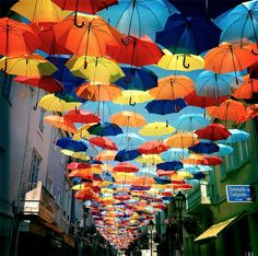 A Colorful Canopy of Umbrellas Returns to the Streets of Agueda, Portugal. Photo by Patrícia Almeida. See many more on Colossal:  http://www.thisiscolossal.com/2013/07/a-colorful-canopy-of-umbrellas-returns-to-the-streets-of-agueda-portugal/