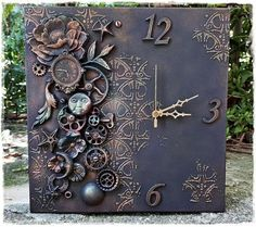 12 mixed media canvas-embellishments,black gesso and finnabair metallique w. Best 12 mixed media canvas-embellishments,black gesso and finnabair metallique w.Best 12 mixed media canvas-embellishments,black gesso and finnabair metallique w. Clock Art, Diy Clock, Clocks, Altered Canvas, Altered Art, Mixed Media Collage, Mixed Media Canvas, Steampunk Crafts, Arts And Crafts