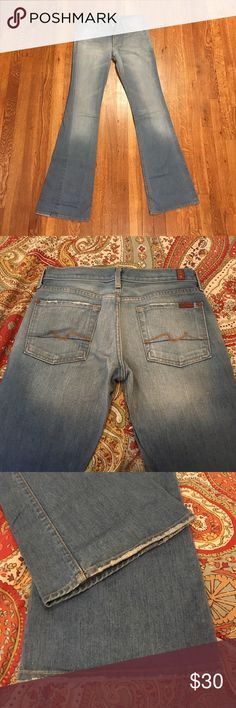 """7 for all mankind jeans - flare Light Havana or Milan? I don't remember... great condition. 100% cotton, no stretch. Nice, long inseam. I'm 5'7"""" and could wear these with heels. 7 For All Mankind Jeans Flare & Wide Leg"""