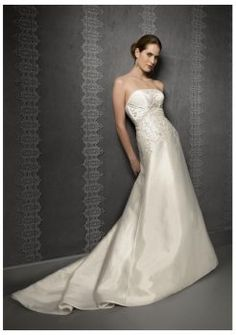 Straight neckline luxury strapless wedding dresses 2014